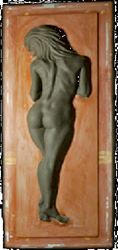 "This demure panel shows a relied in ""Clay"" set on a Terra Cotta panel or Freeze."