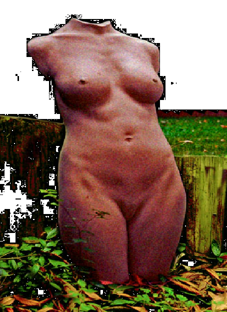 Rugged, tactile and waeather resistant Female Torso, in situ in a water feature, depicted in Terra Cotta.